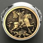 chevalière homme dragon et cavalier