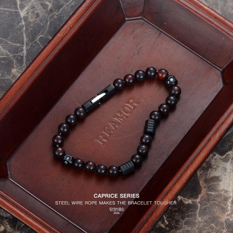 bracelet perles marron homme