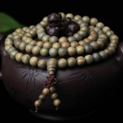 Bracelet mala 108 perles santal vert