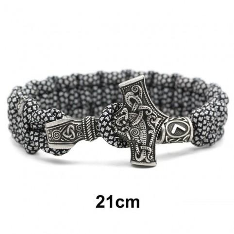 Bracelet corde de survie, marteau de Thor, pour hommes
