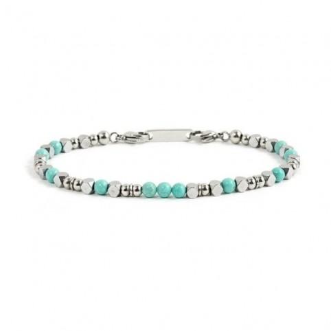 bracelet acier et perles pierre femme