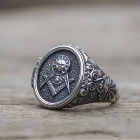 Chevalière symbole maçonnique homme