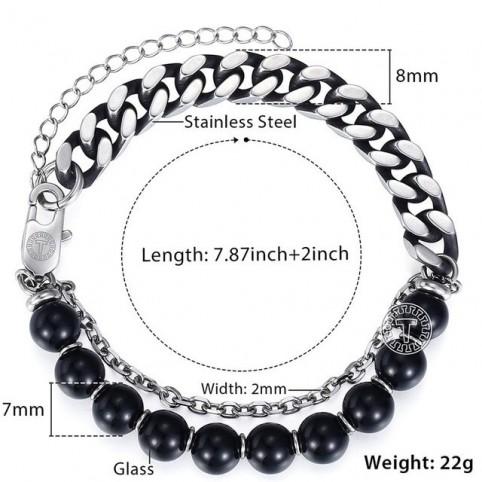 bracelet acier et perles homme