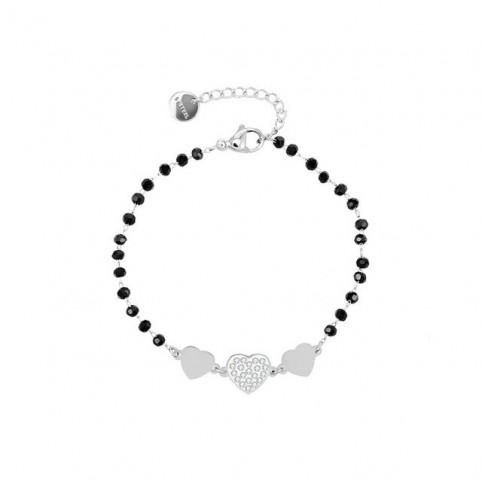 bracelet breloque et perles cristal noir
