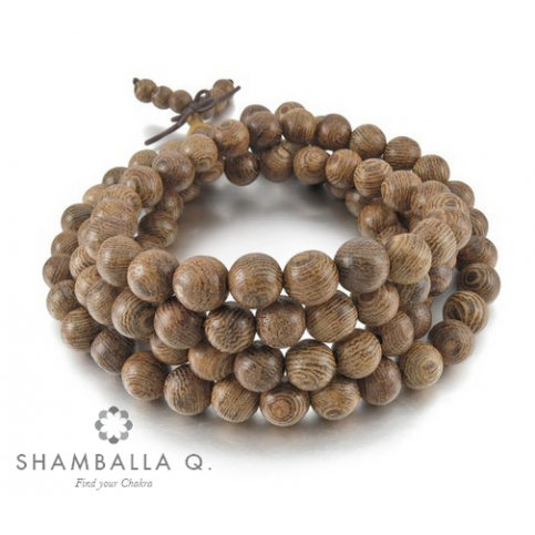 bracelet 108 perles en bois clair
