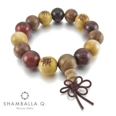 bracelet boules en bois élastique