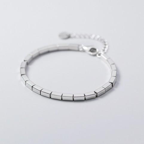 bracelet perles carrés argent femme