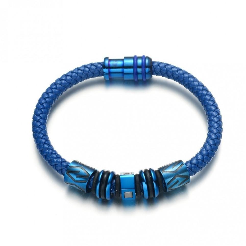 bracelet corde et tube bleu