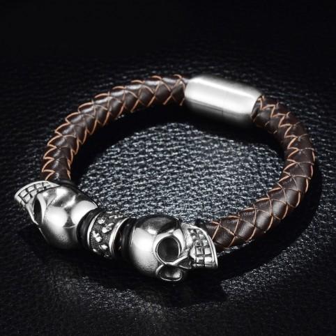 bracelet cuir et cranes gothique homme