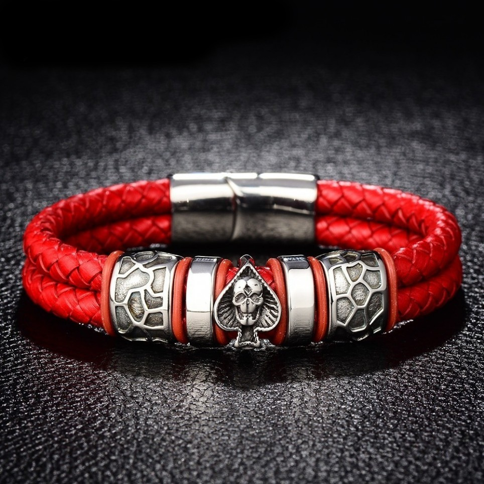 bracelet cuir rouge et crane argent