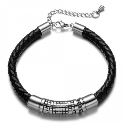 bracelet cuir noir et argent
