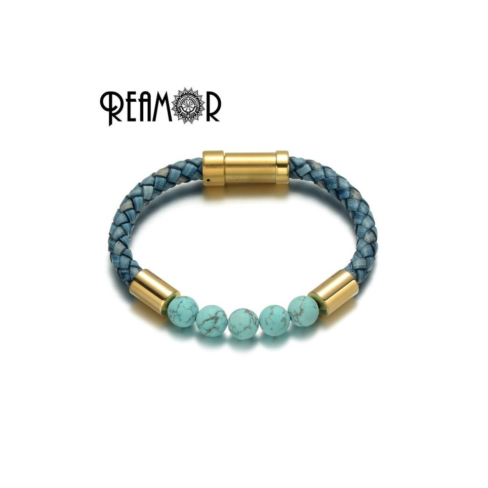 Bracelet cuir et perles bleu