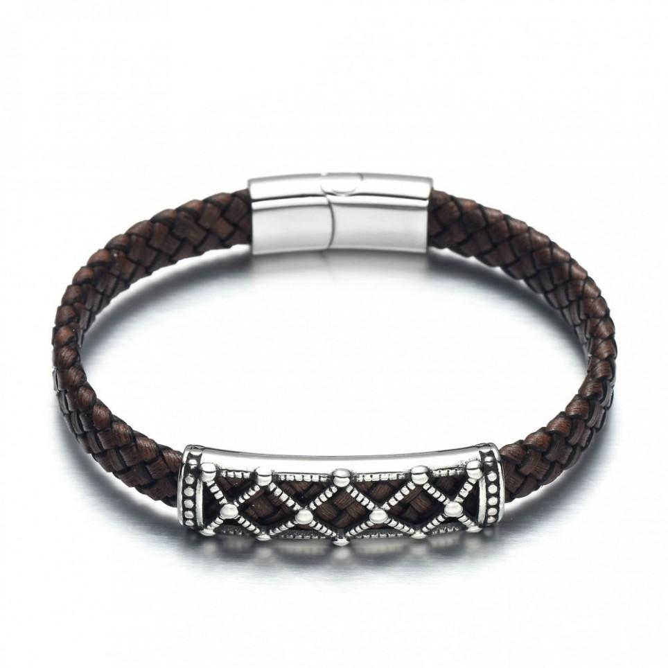 bracelet cuir maron homme