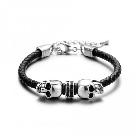 bracelet cuir tete de mort
