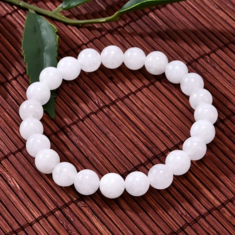 Bracelet vertu sélénite 8mm perles blanches