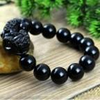 Bracelet fengshui en obsidienne noir