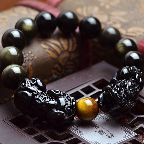 Bracelet feng shui avec deux pixiu et perles en obsidienne noir