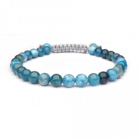 bracelet shamballa perles Apatite bleu