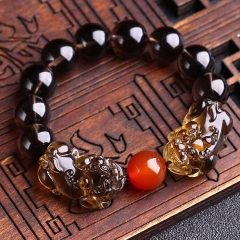 Bracelets en pierre d'obsidienne naturelle et 2 pixiu porte-bonheur
