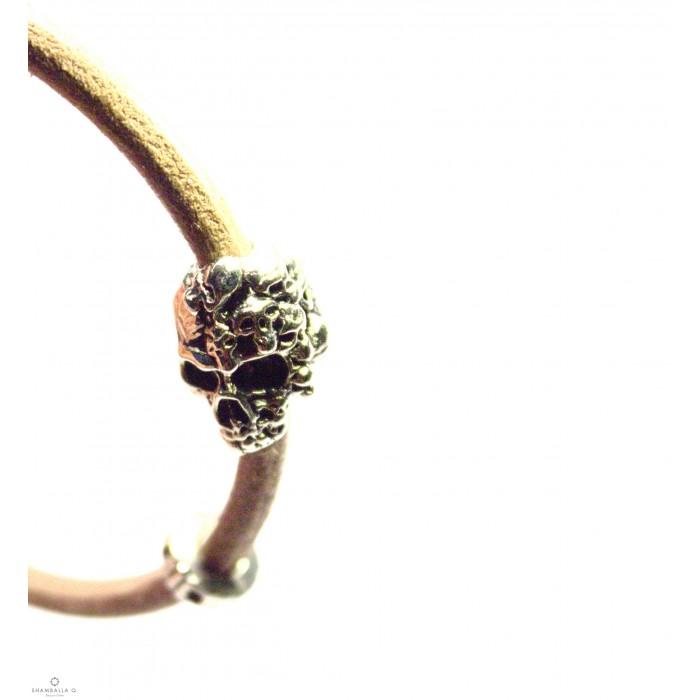 Crane multi 1 + - Bracelet créateur en cuir avec crane XL