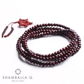 bracelet Mâlâ bois 108 perles et roue Tibétaine