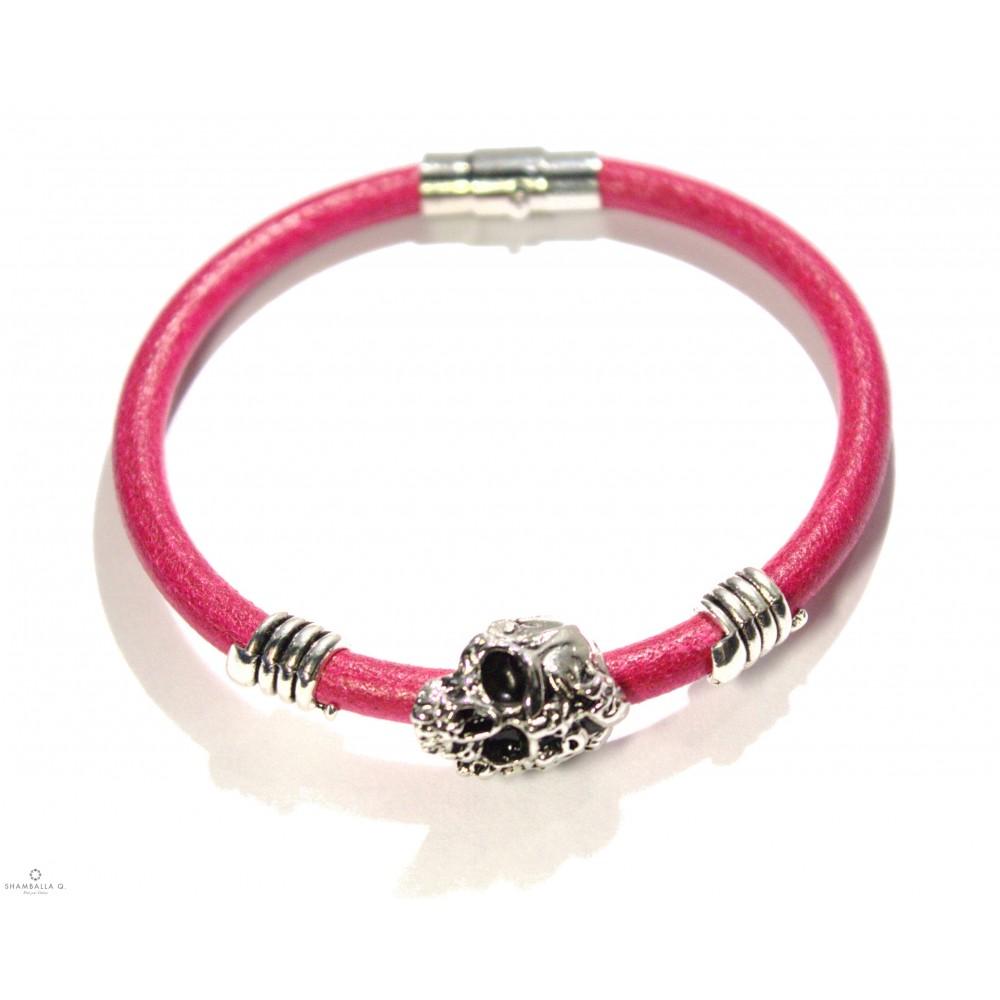 bracelet cuir homme femme diablita 2 by s q bracelet cuir rose avec crane xl. Black Bedroom Furniture Sets. Home Design Ideas