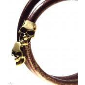 Bracelet cuir double rang homme en cuir marron