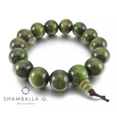 bracelet perles en bois vert