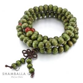 bracelet Mâlâ bois 108 perles vertes