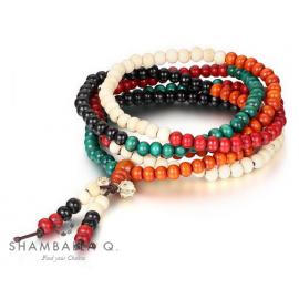 bracelet Mâlâ bois 108 perles multicolores