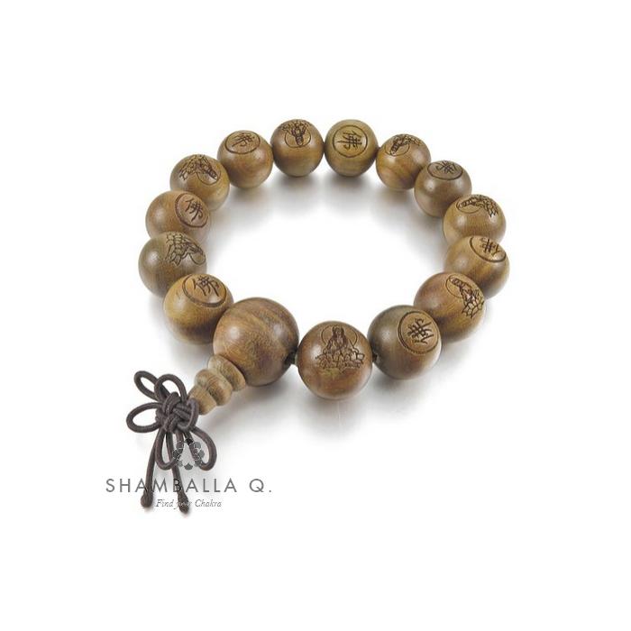 bracelet bouddhiste en bois marron