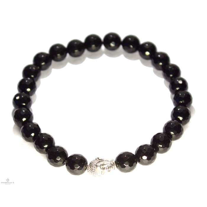 Bracelet mala tibetain onyx noir tete de bouddha