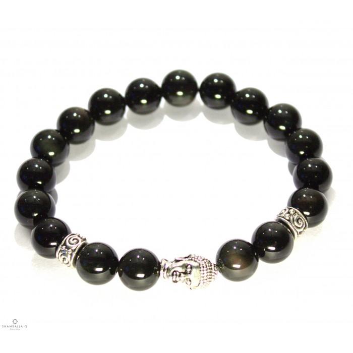 Bracelet mala tibetain noir et bouddha
