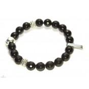 bracelet mala tibetain onyx et tete de mort