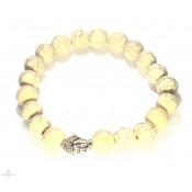 Le bracelet mala népalais blanc avec bouddha