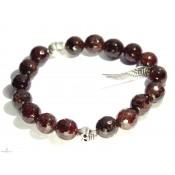 Bracelet mala bouddhsite marron et aile d'ange