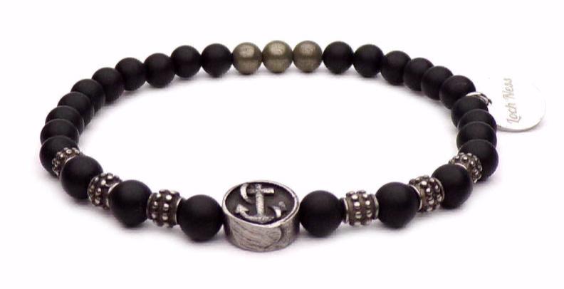 bracelet symbole ancre perles noir