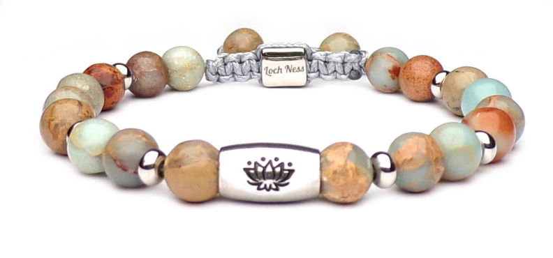bracelet pierre symbole fleur de lotus