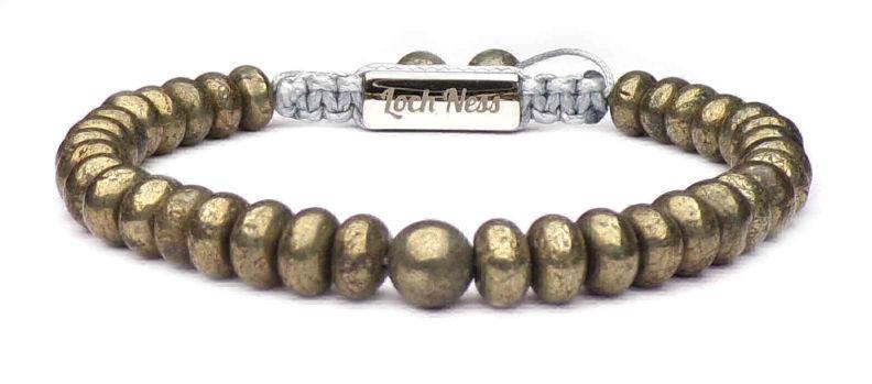 bracelet homme perles plates métal