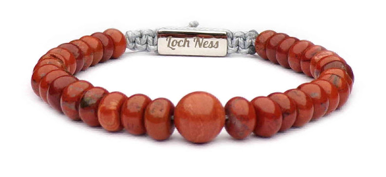 man bracelet flat pearls red
