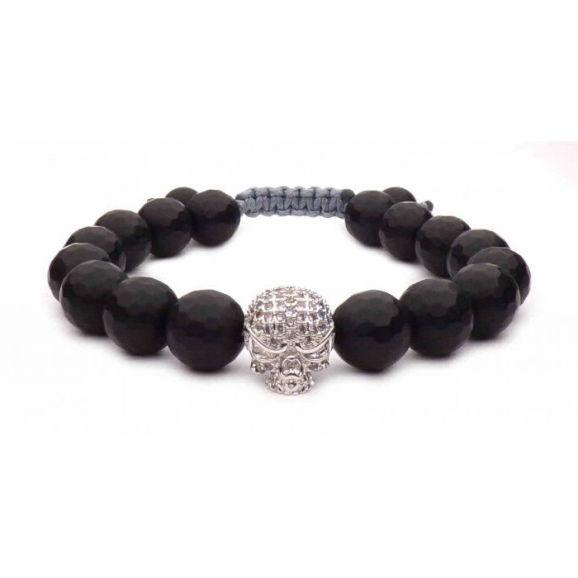 bracelet skull argent et noir