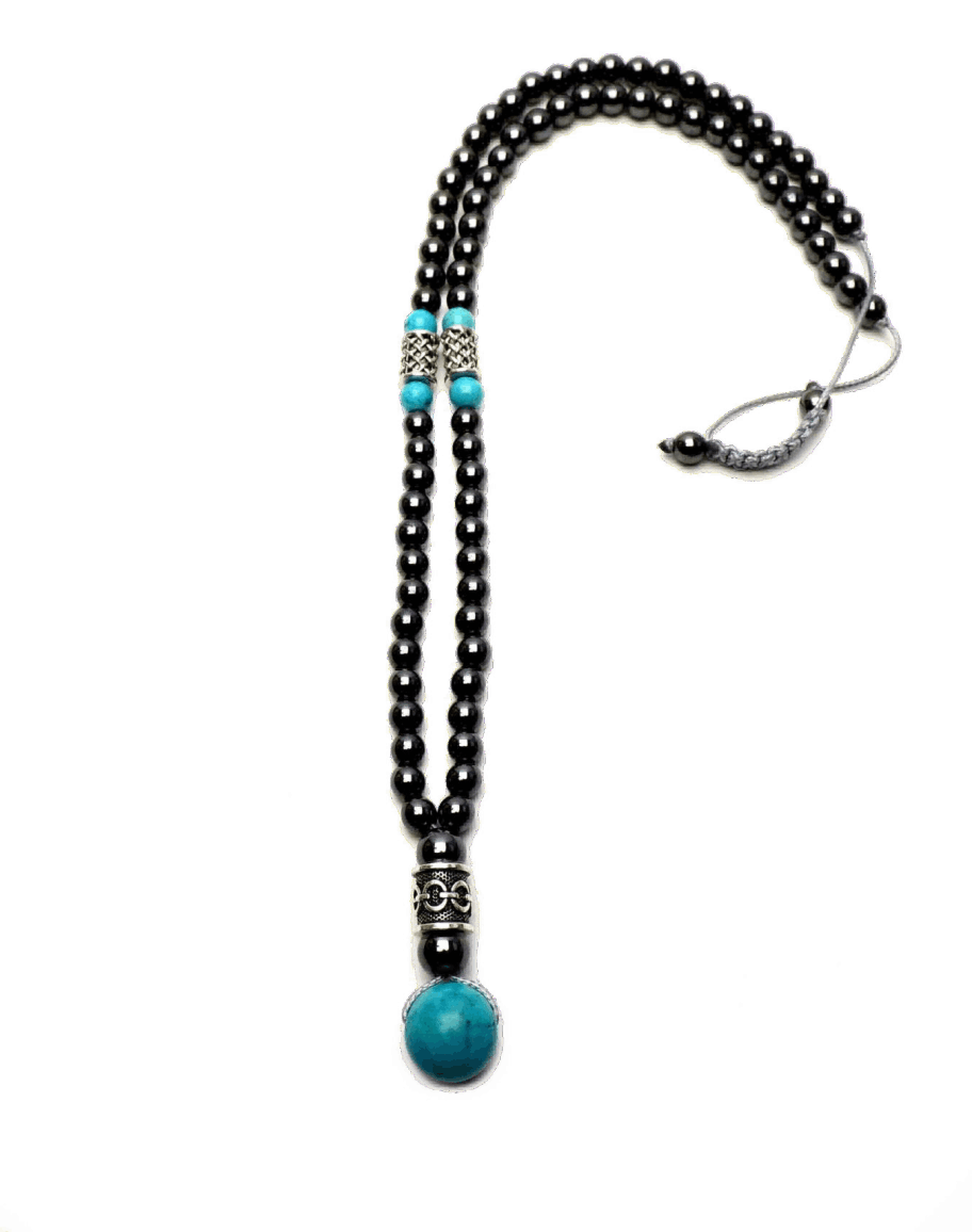 wire necklace shamballa beads hematite and turquoise
