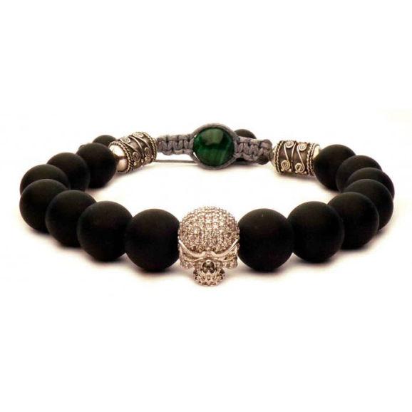 bracelet skull argent et boules noir