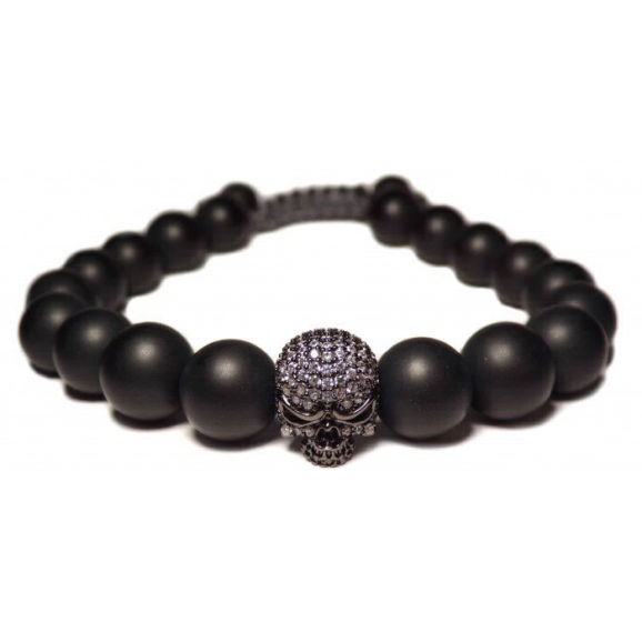 bracelet crane noir perles sombres