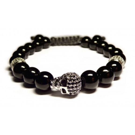 bracelet perles noir et crane argent