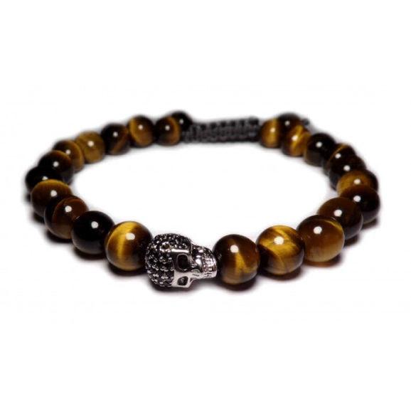 bracelet tete de mort pierre oeil de tigre