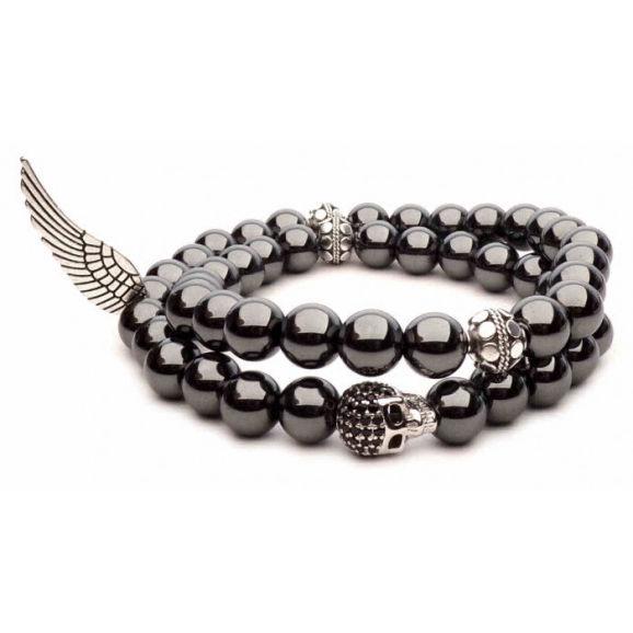 bracelet double hematite tete de mort