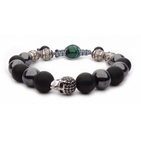 silver skull bracelet malachite beads