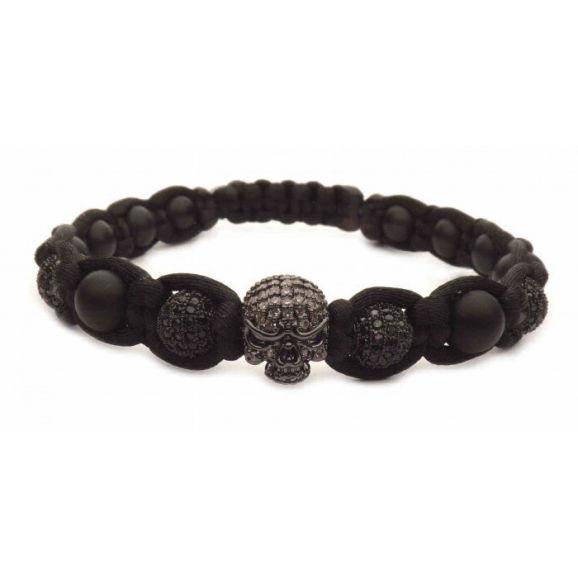 bracelet tete de mort noir tressé