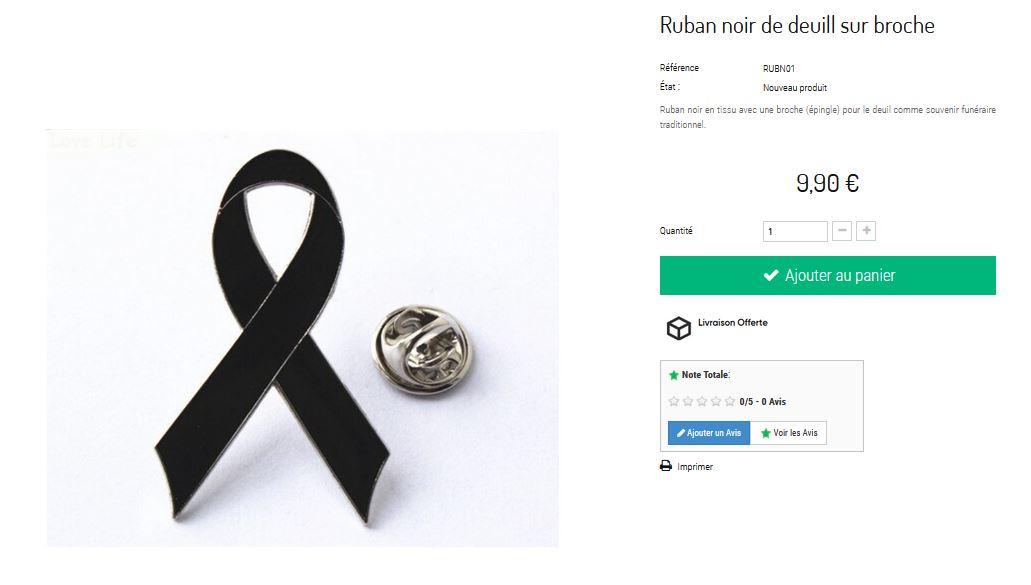ruban noir funéraire